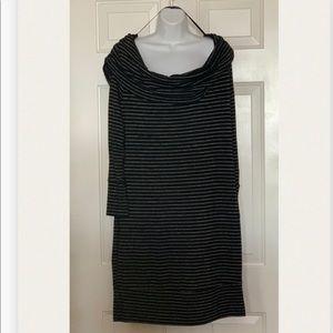Black Off the Shoulder Sweater Dress